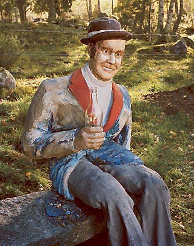 """Helmer Jarls """"Självporträtt"""" i skogen."""