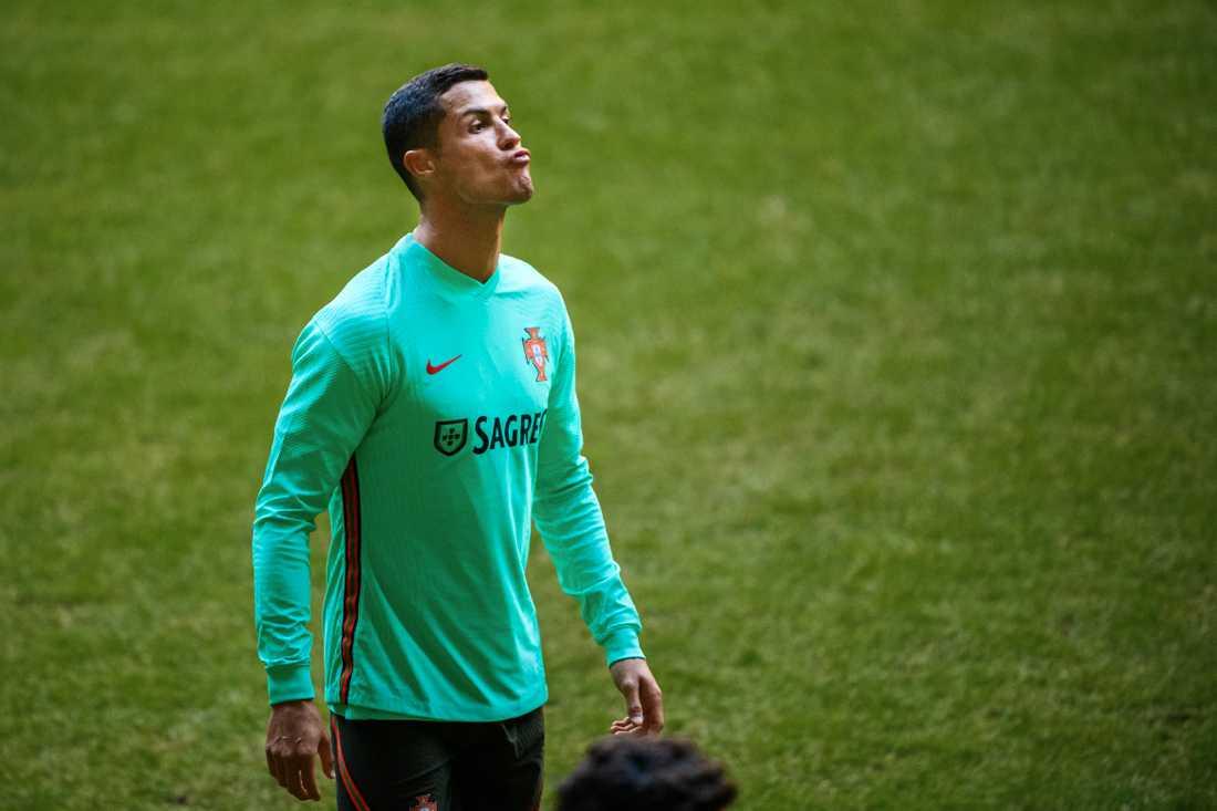 Cristiano Ronaldo tränade på Friends arena inför mötet med Sverige.