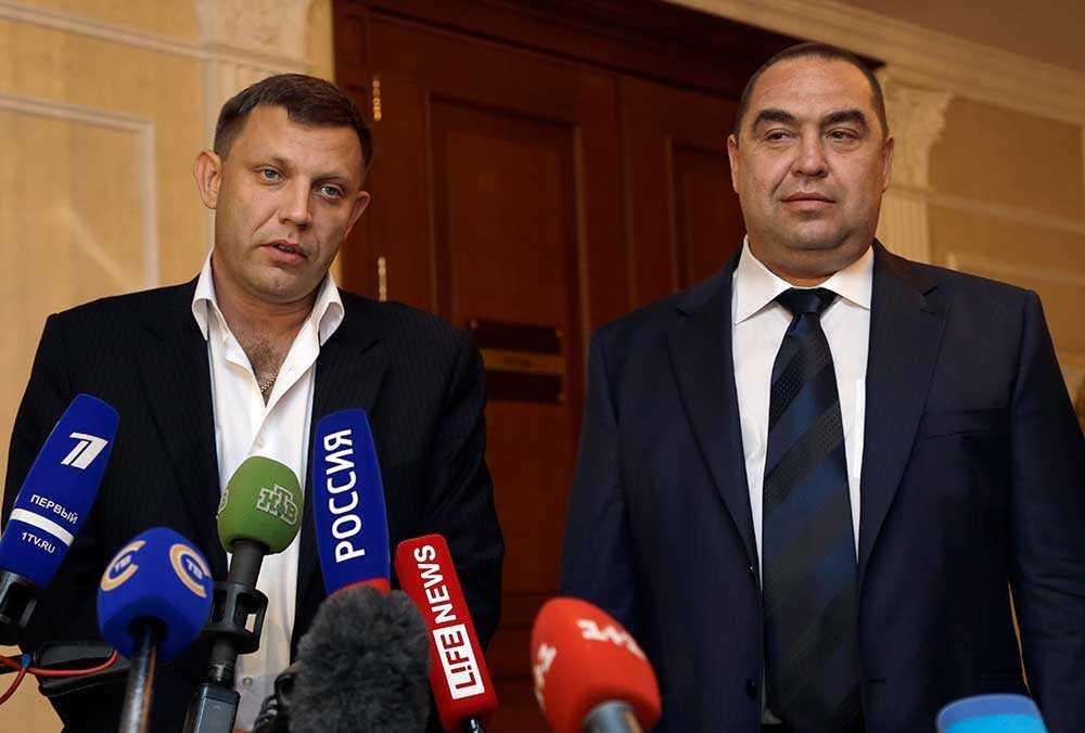 Separatistledarna Alexander Zakharchenko och Igor Plotnitsky, ledare för separatisterna i Donetsk och Lugansk.