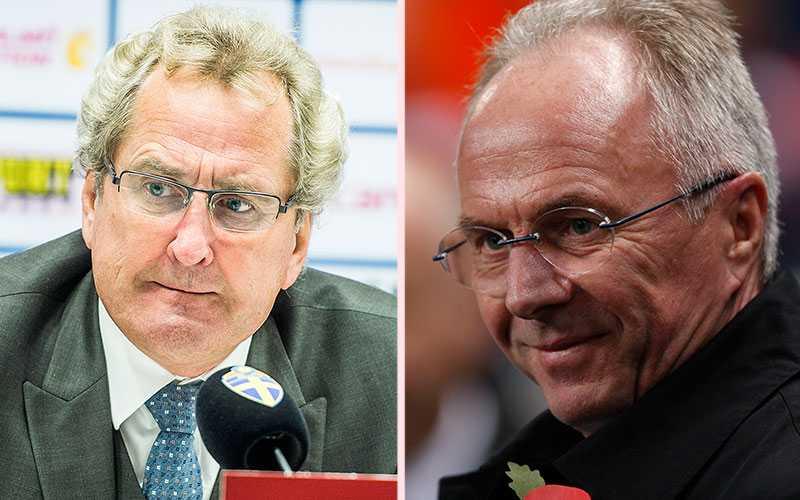 Erik Hamrén är en pressad förbundskapten, men han han Sven-Göran Erikssons support.