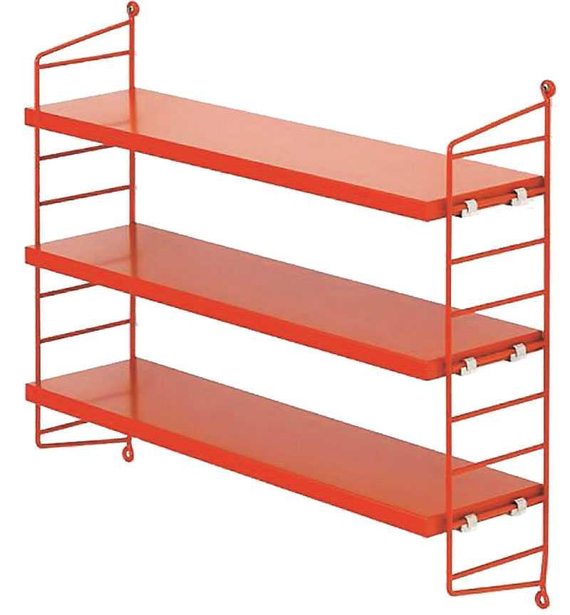 Den klassiska stringhyllan helt i rött blir en härlig accent var man än placerar den, finns hos bland annat www.svenssons.se 880 kr.