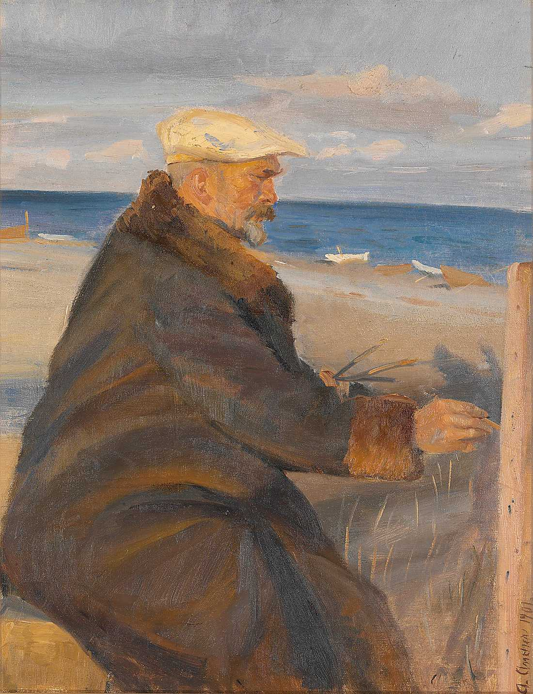 "Anna Ancher, ""Michael Ancher målande på stranden"", 1901, olja på duk. Foto: Nationalmuseum"