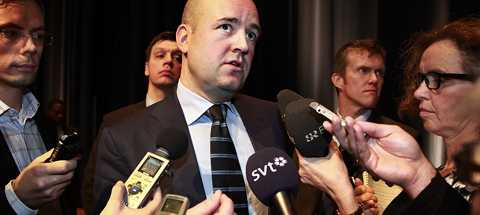 Fredrik Reinfeldt besökte Södertörns högskola under onsdagen.