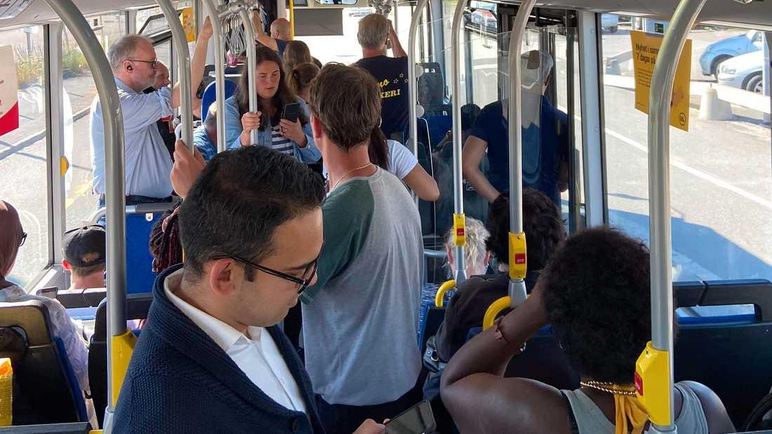 Så här såg det ut på en av stadsbussarna på tisdagseftermiddagen.