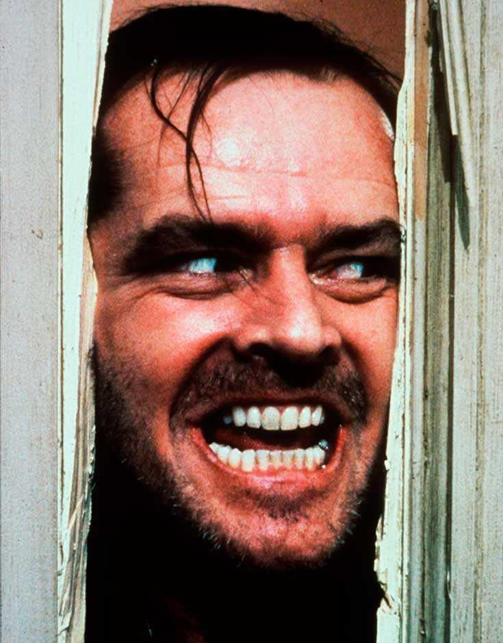 """En av Jack Nicholson mer kända rollfigurer, Jack Torrance, i """"The Shining"""" baserad på Stephen Kings roman med samma namn."""