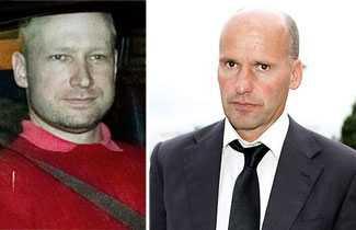 Anders Behring Breivik och hans advokat Geir Lippestad.