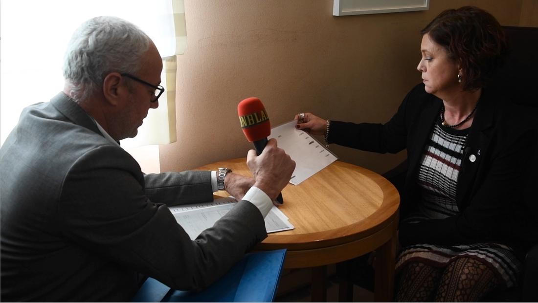 Aftonbladets Richard Aschberg intervjuar L-ledamoten Emma Carlsson Löfdahl (L).