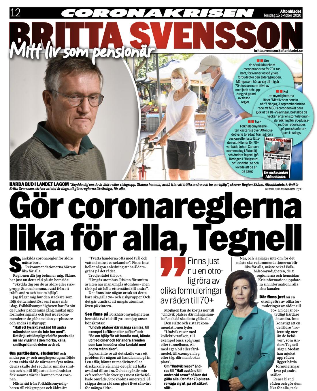 FAKSIMIL: Britta Svenssons kolumn 15 oktober 2020.