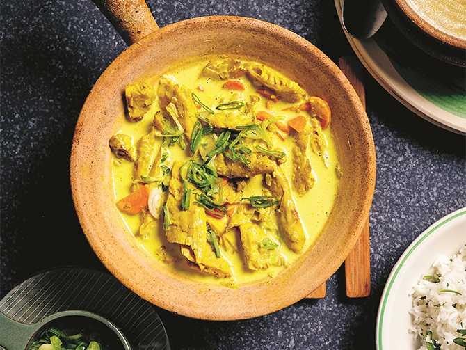 Kyckling, ris och curry – utan kyckling.