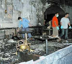 De delar av hotell Taj Mahal som brunnit.