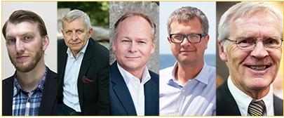 Från Timbros inbjudan: Ivar Arpi, Timbros rapportförfattare, mellanösternvetaren Eli Göndör, statsvetaren Tommy Möller, Kent Persson (M) och Bosse Ringholm (S).