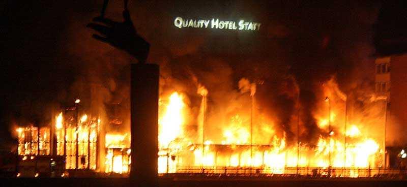 Hotellet i Eskilstuna började brinna på onsdagsmorgonen.