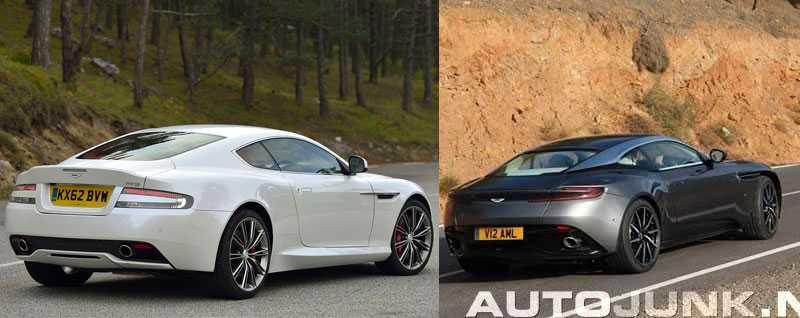 Sida vid sida ser man att det är stora skillnader mellan de båda bilarna DB9 och DB11.