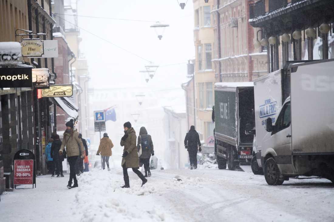 Ett snöigt Stockholm den 5 januari 2017. Arkivbild.
