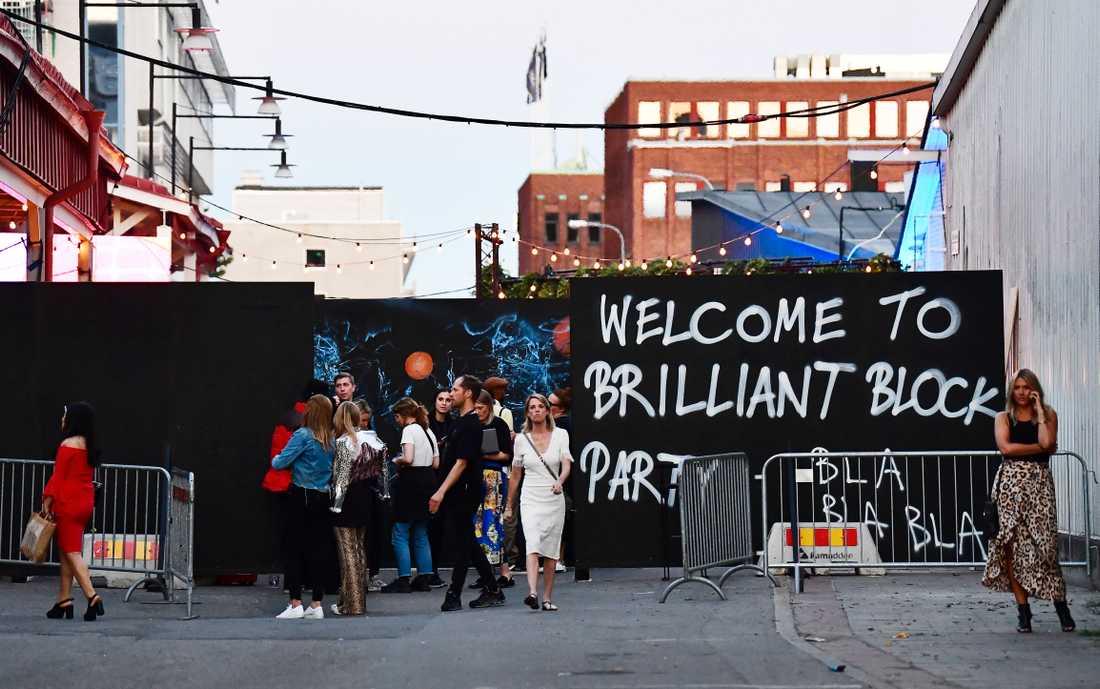 Entrén till Brilliant Minds-festen i Slakthusområdet i Stockholm.