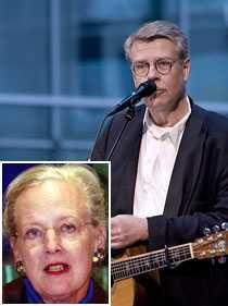 Pölsefascism Mikael Wiehe gick till attack mot den danska invandringspolitiken i kväll. Drottning Margrethe (infälld) och det svenska kungaparet var inte roade.