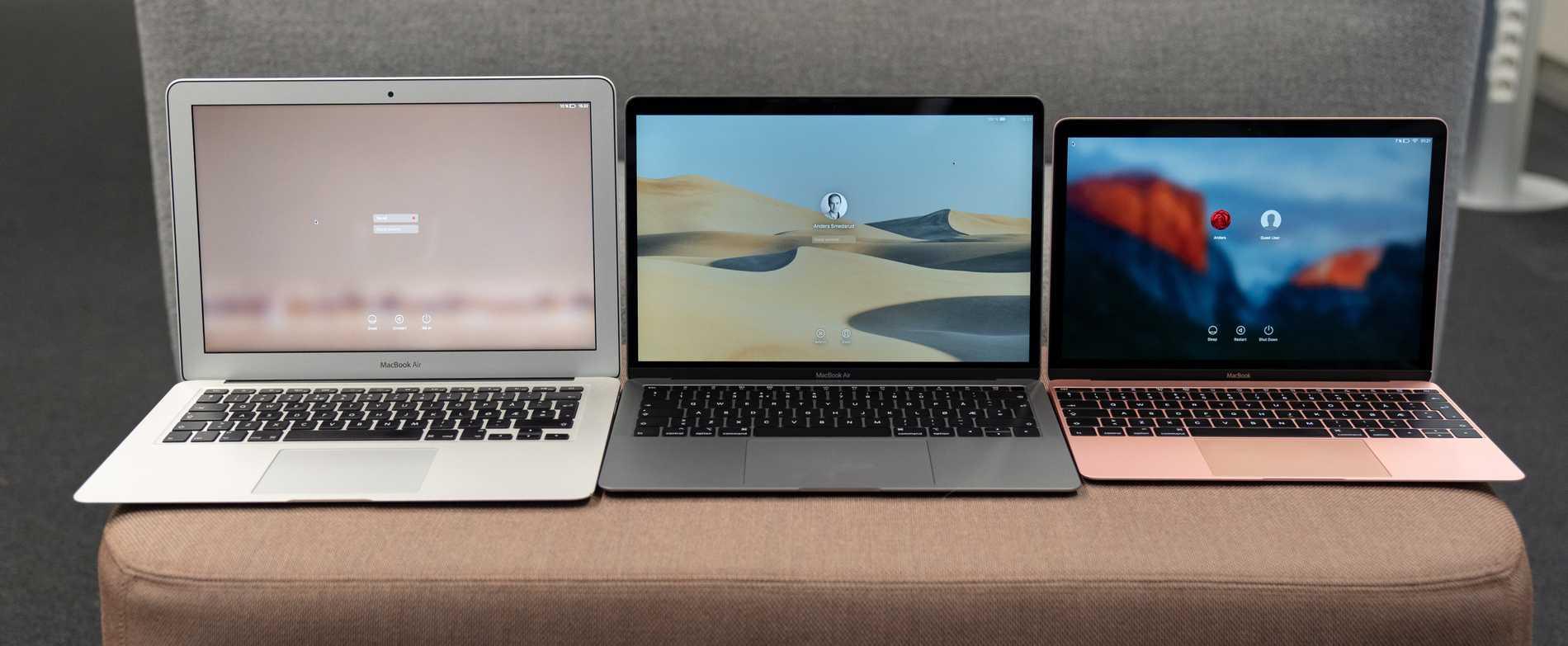 Tripp trapp trull. Gamla Macbook Air 13, nya Macbook Air 13 och Macbook 12.