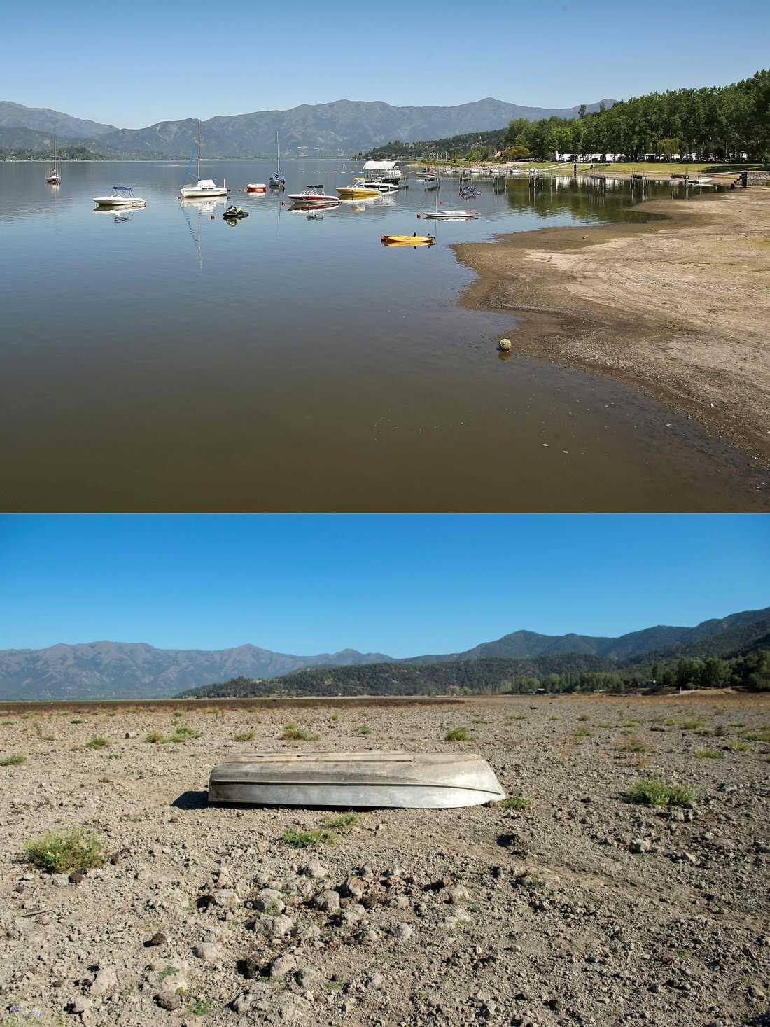 Det nu uttorkade tidigare semesterparadiset, sjön Aculeo i Chile. Den översta bilden är tagen 2013, den undre i mars i år.