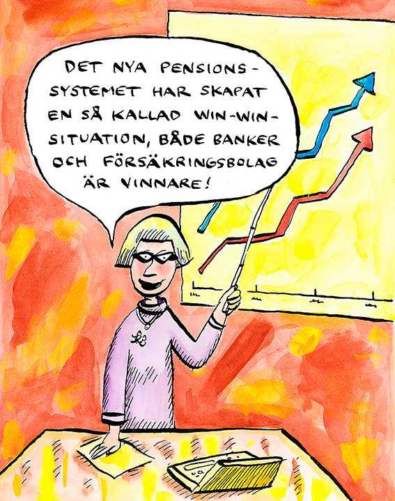 """84-åriga pensionären Inga-Lisa Sangregorio har skrivit en klargörande och bitsk bok om spelet bakom det nya pensionssystemet. """"Hon är arg, det blir man lätt när bedrägerier uppdagas"""", skriver Mikael Nyberg."""