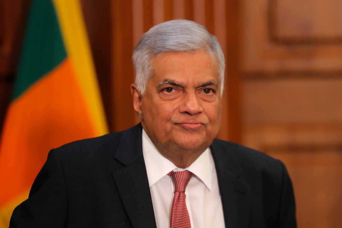 Sri Lankas avgående premiärminister Ranil Wickremesinghe. Arkivbild.
