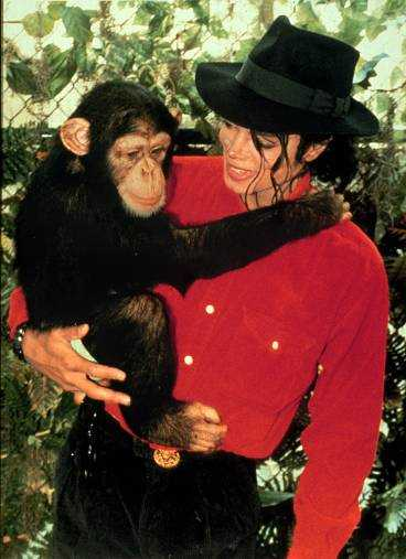 Michael Jackson och Bubbles.