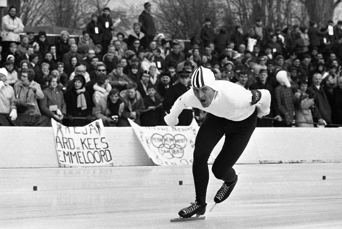 Fred Anton Maier, Norge, under 5 000 meter i OS i Frankrike 1968. Norrmannen satte världsrekord och tog guldmedalj på distansen.