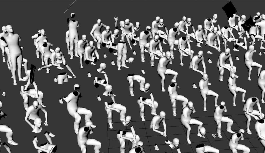 I den nya installationen av konstnären Anna Ådahl som visas på Marabouparken ligger fokus på hur man simulerar folkmassor digitalt.
