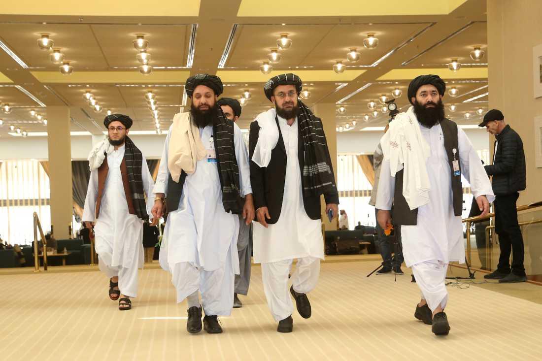 Talibanernas delegation under samtalen i Doha i Qatar. Arkivbild.