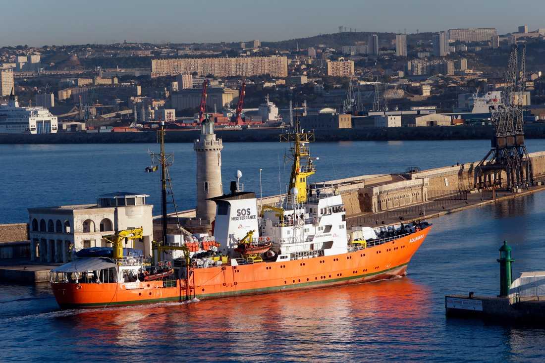 Aquarius anländer till hamnen i Marseille, där fartyget legat i drygt två månader. Arkivbild.