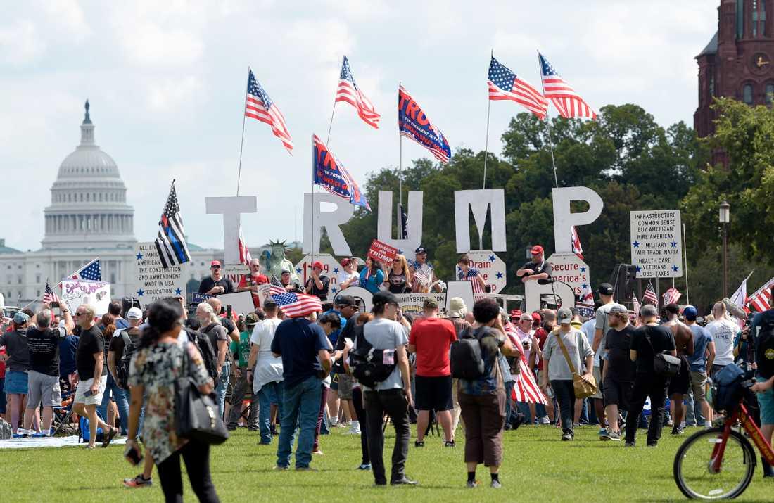En demonstration för president Donald Trump i USA:s huvudstad Washington DC.