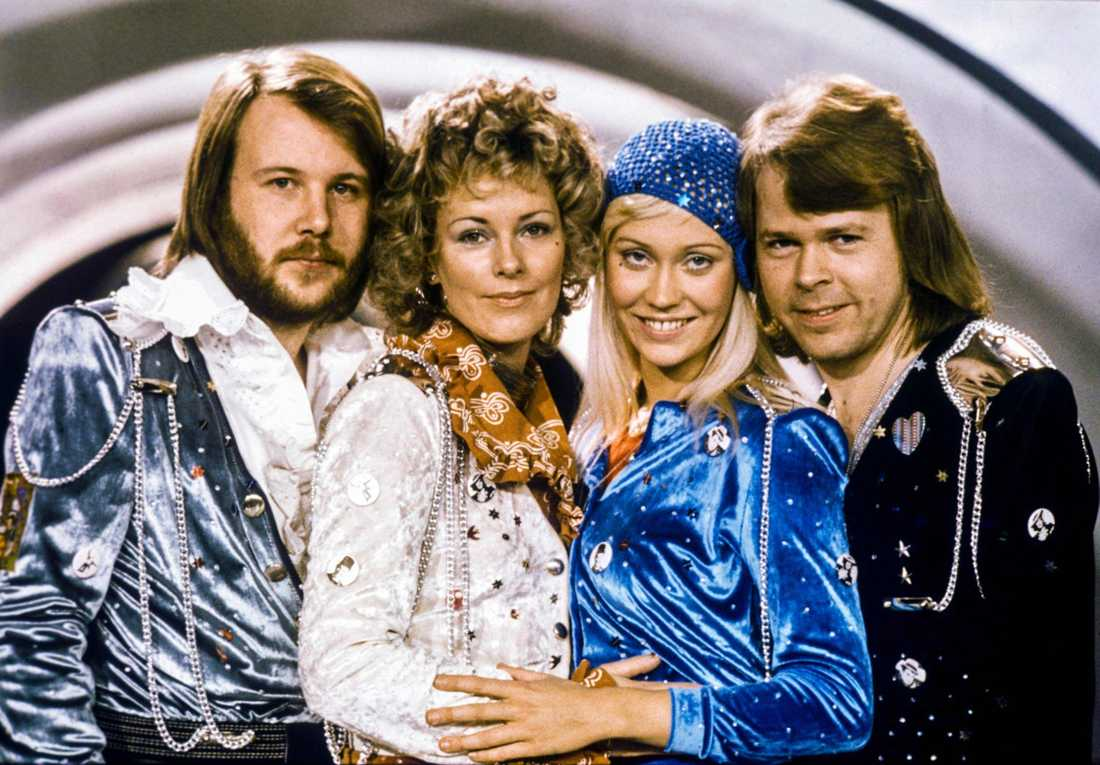 Benny Andersson, Anni-Frid Lyngstad, Agnetha Fältskog och Björn Ulvaeus 1974. Arkivbild.