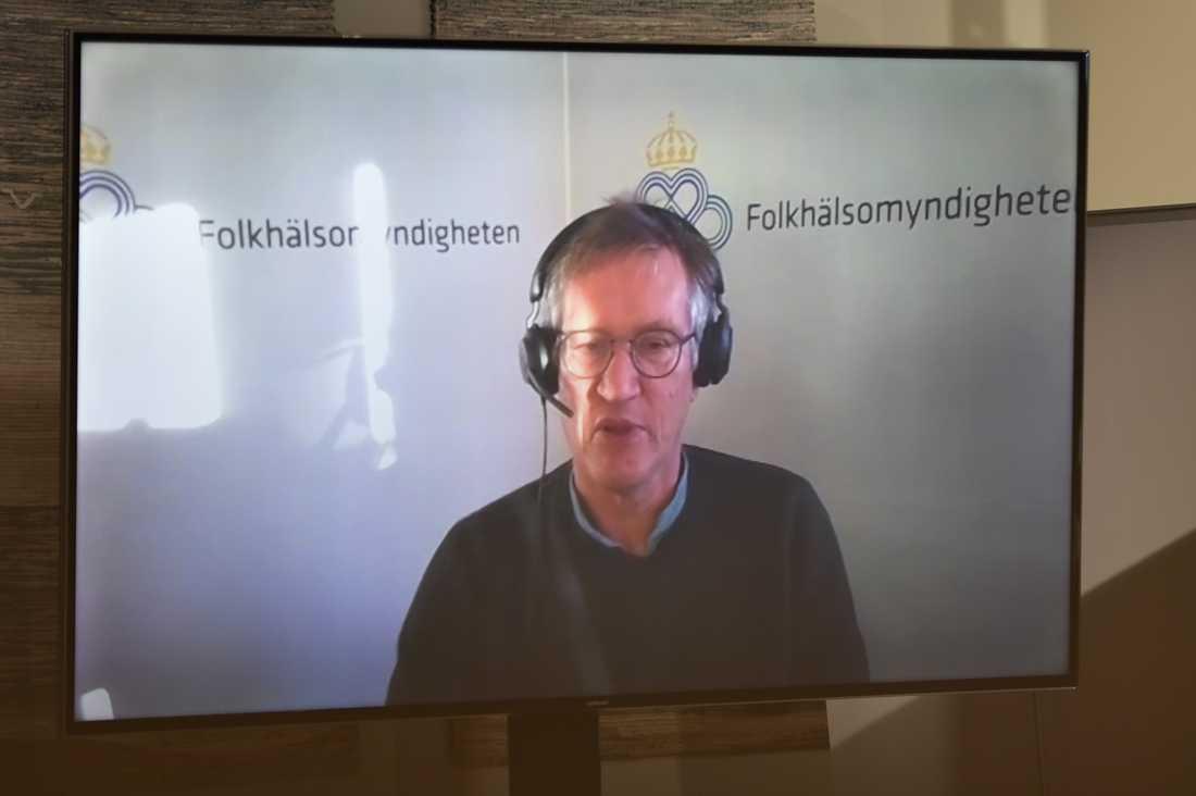Anders Tegnell, statsepidemiolog Folkhälsomyndigheten talar under en digital pressträff om coronaläget på tisdagen.