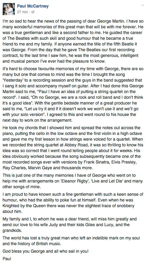 Paul McCartneys inlägg på Facebook.