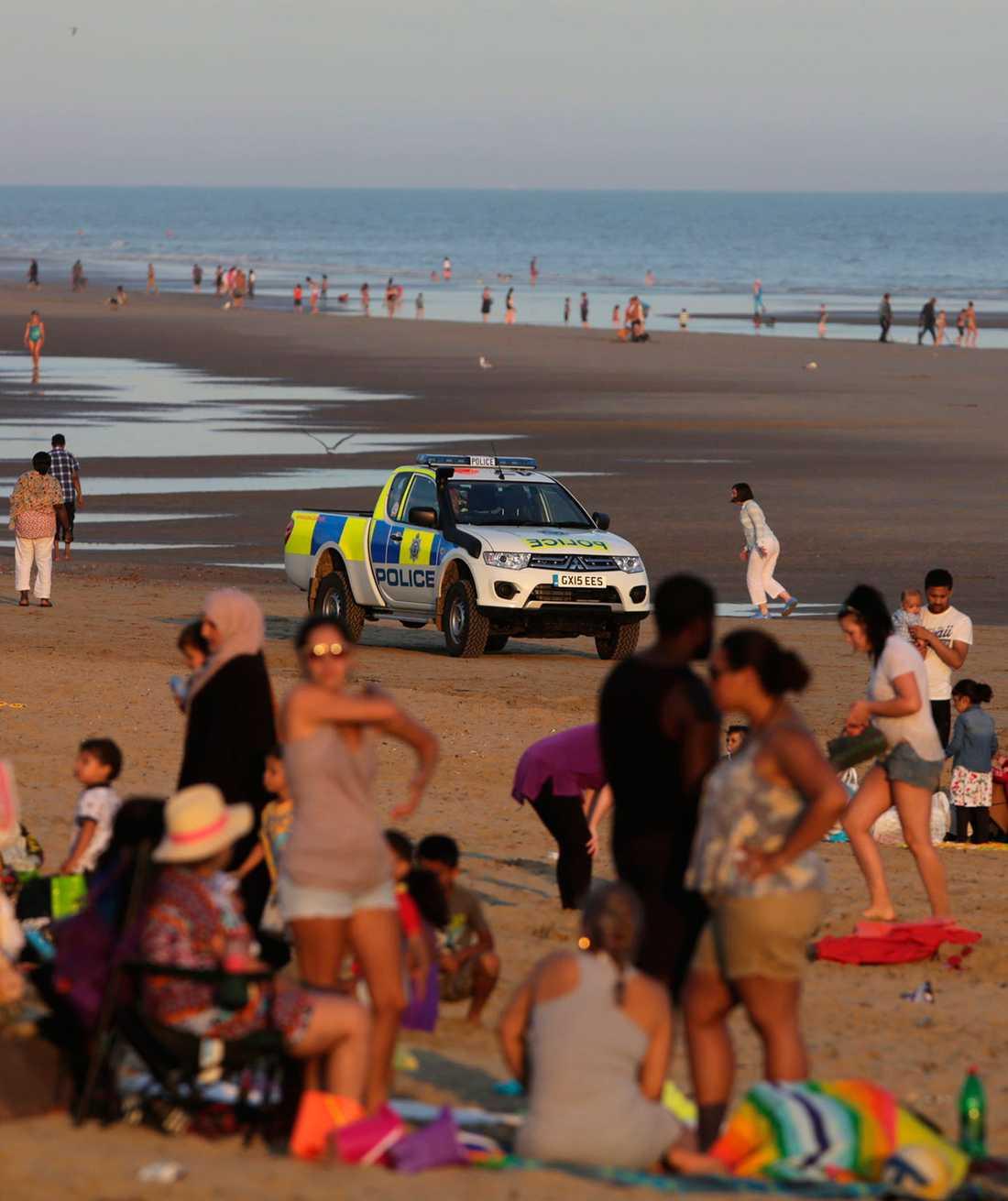 Fem personer drunknade vid stranden Camber Sands i England.