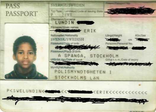 "Omslaget till ""Suedi"" – Erik Lundins svenska pass."