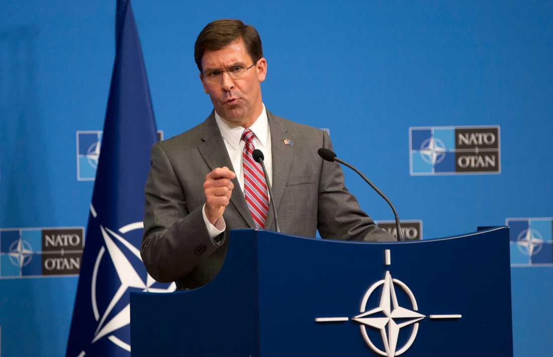 USA:s tillförordnade försvarsminister Mark Esper på Natomötet.