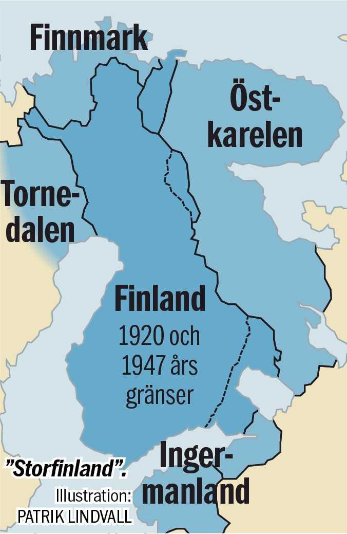"""... många på den vita sidan drömde om ett """"Storfinland"""" och ville därför få de tyska trupperna med sig för att  befria alla områden med finsktalande befolkning i Ryssland.   På nytryckta kartor kunde man se att även de finsktalande delarna av norra Sverige skulle anslutas till detta nya finska storrike."""