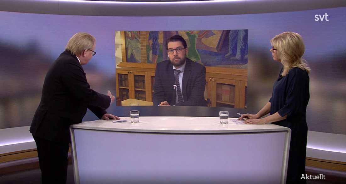 Peter Hultqvist (S) och Jimmie Åkesson (SD) debatterade i Aktuellt den 9 februari.