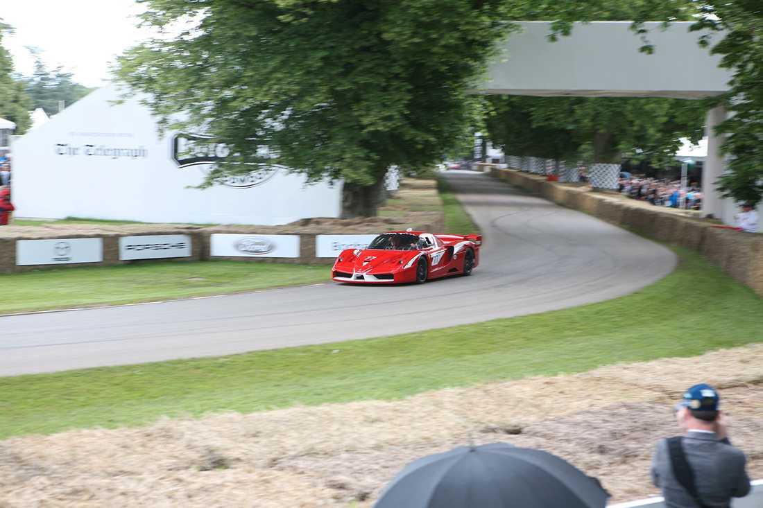 Ferraris klassiska superbil Enzo vrålar förbi.