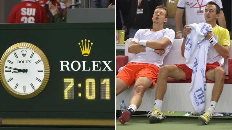 Tjeckiska paret Tomas Berdych och Lukas Rosol pustar ut under rekordmatchen.