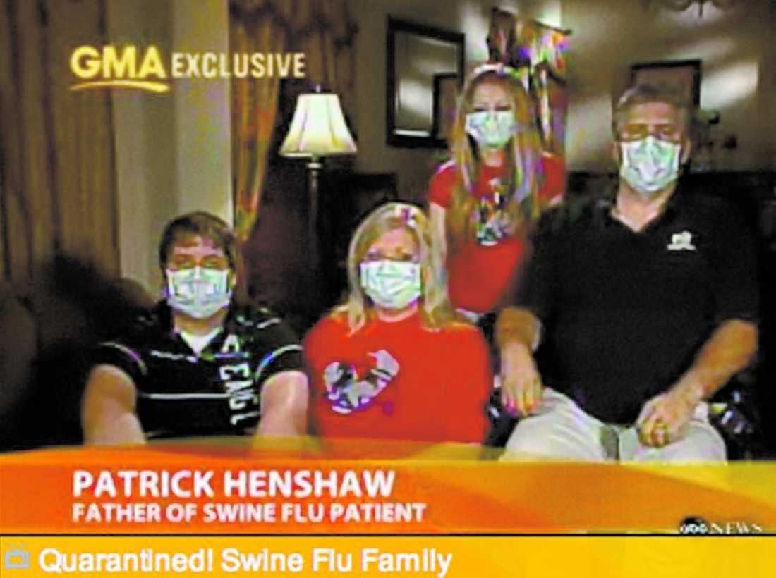 """USA Familjen Henshaw i Texas har varit isolerade i flera dagar efter att sonen Hayden smittades. """"Vi stannar inomhus så länge vi behöver"""", säger pappan Patrick Henshaw."""