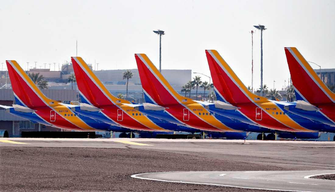 Boeing 737 Max-flygplan blir stående på marken. Arkivbild.