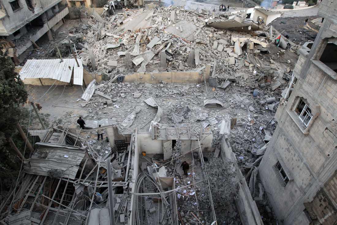 Det sönderbombade inrikesdepartementet i Gazaremsan.