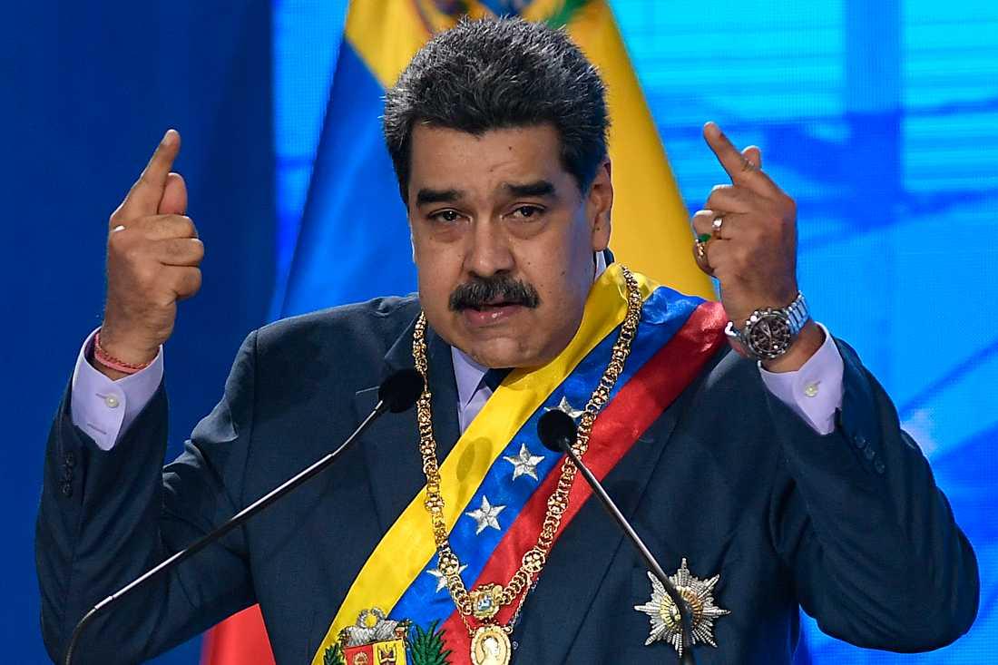 Venezuelas president Nicolás Maduro under en ceremoni vid Högsta domstolen i Caracas i fredags.