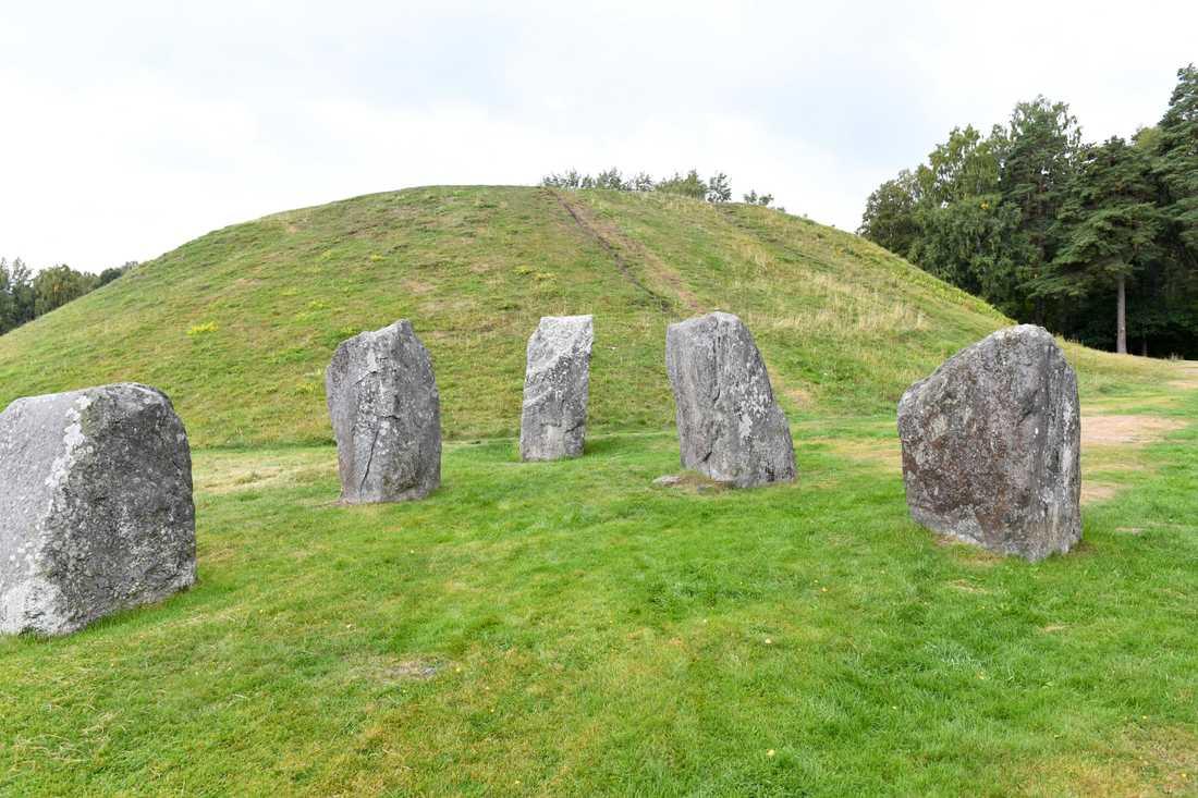 Fornminnesområdet Anundshög utanför Västerås omfattar gravhögar, skeppssättningar och runstenar. Arkivbild.