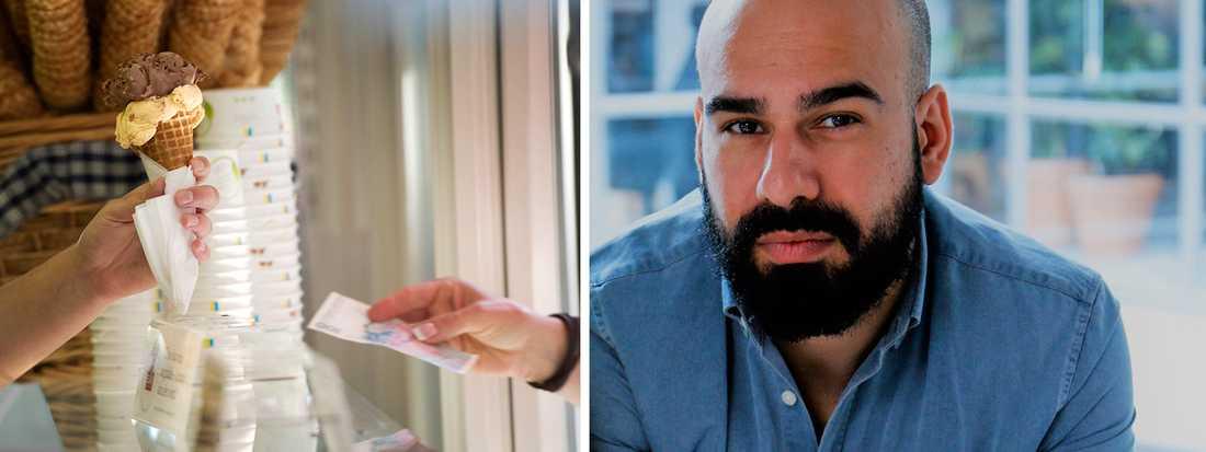 """""""Börja följa de företag du gillar på sociala medier. Många lägger upp annonser där"""", säger Omid Rahmanian."""