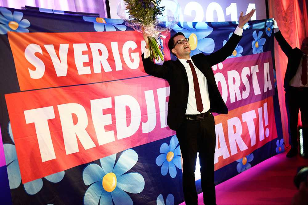 Jimmie Åkesson på SD:s valvaka.