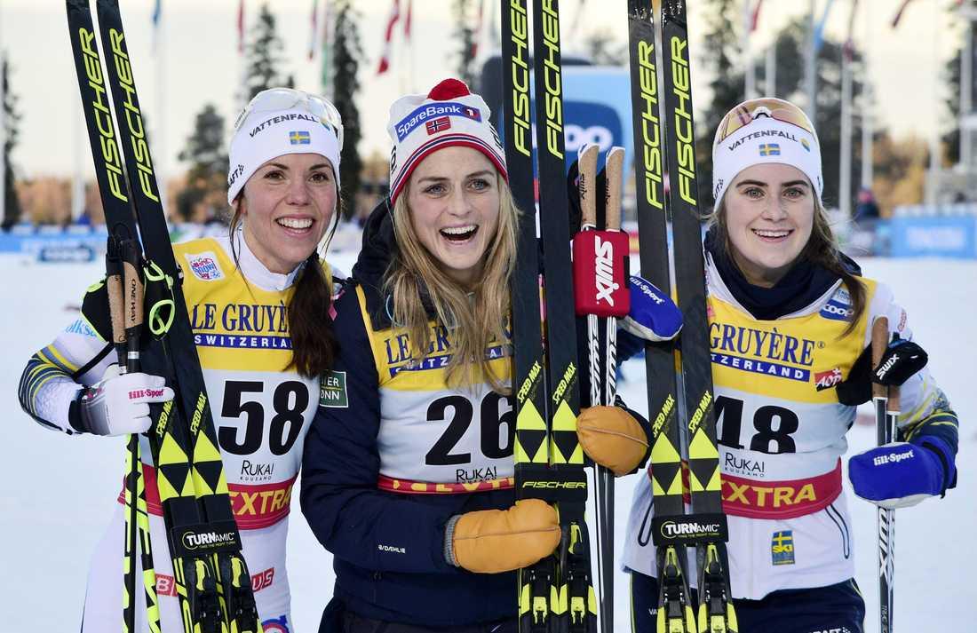 Charlotte Kalla, Therese Johaug och Ebba Andersson.