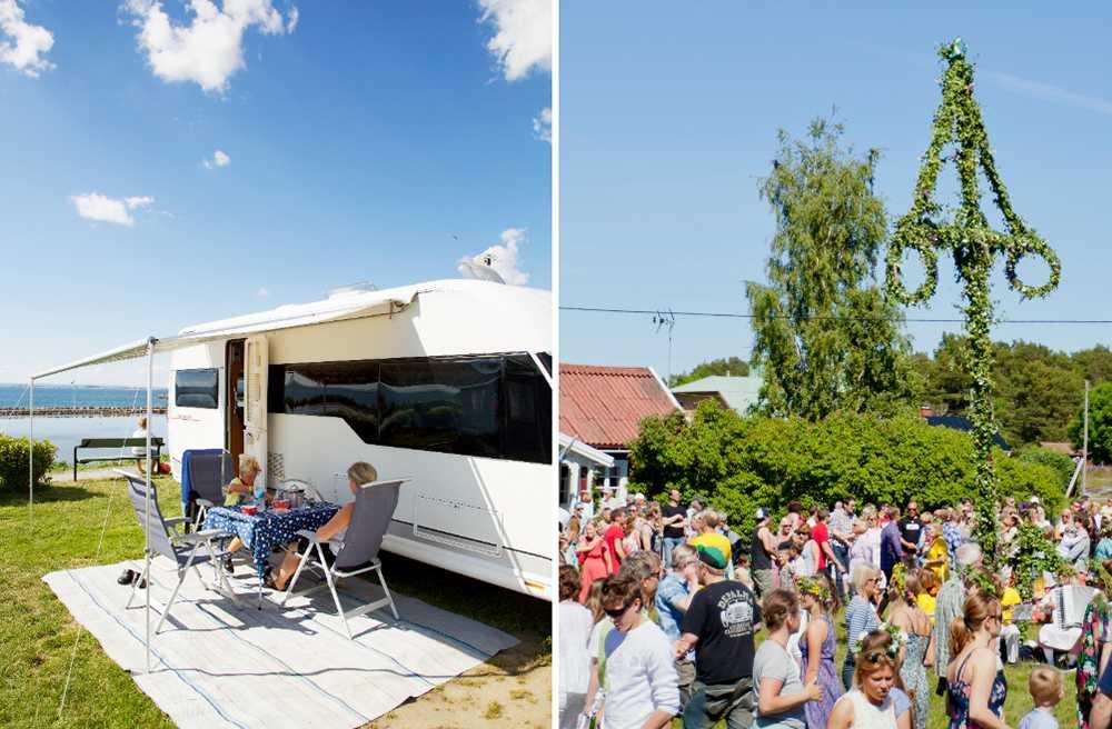 Att fira midsommar på camping är populärt.