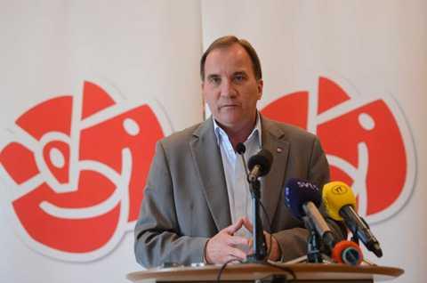 Stefan Löfven, partiledare i Socialdemokraterna, pratade om klimatinnovationer på sin pressträff i Almedalen.